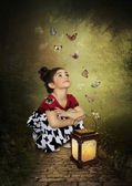 Little girl and butterflies