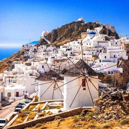 serifos Insel, Blick auf Chora Dorf und Windmühlen. Griechenland, Kykladen