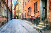 Charming colorfuk streets of old town in Stockholm, Sweeden