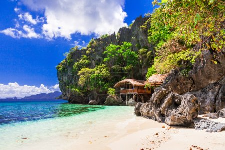 Tropical solitude - wild white sandy beaches of Philippines, El Nido.