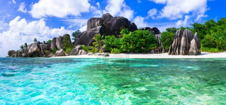 Most beautiful tropical beaches - Anse source d'argent in La digue,Seychelles