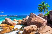 Amazing beaches with famous granite rocks in Seychelles, Praslin