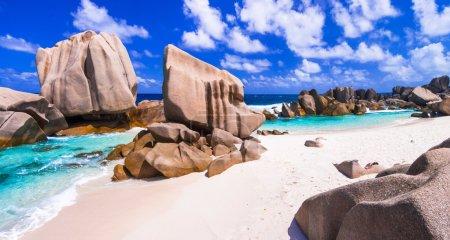unique granite rocky beach Anse Marron in La Digue island, Seychelles.