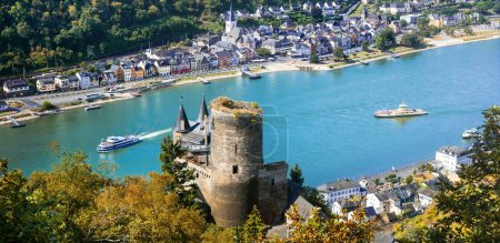 Panoramic view with river Rhein and old Kats castl...