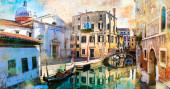 Venetian street and canals. Artistic picture in retro paining style. Venice, Italy