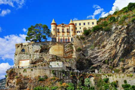 scenery of Amalfi coast - view with a castle. Minori, Italy