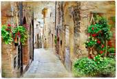 old charming streets of medieval towns, Spello ,Italy. artistic
