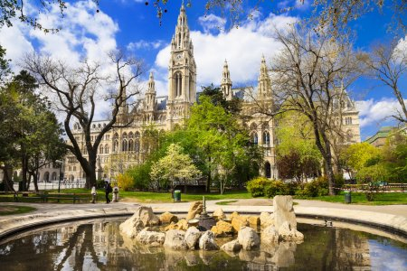 Vienna, beautiful park near city hall