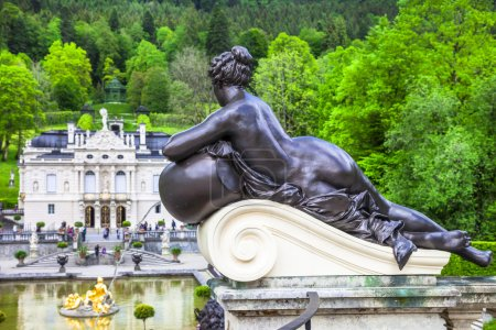 beautiful garden with sculptures in Linderhof castle park