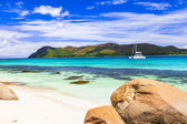 tropical paradise -islands Seychelles, view with yacht