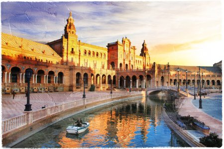 Seville- beautiful piazza Espana over sunset- artwork in painting style