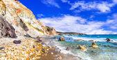 unique beautiful beaches of Greek islands- Milos (Fyriplaka beach)