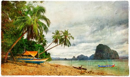 tropical scenery - vintage picture