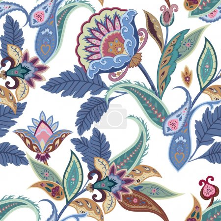 Fantasy flowers seamless paisley pattern. Floral ornament, for f