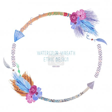 Watercolor wreath,  can be used for invitations, banners, cards.