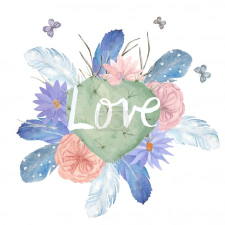 Watercolor fantasy card, can be used for valentines cards. Hand