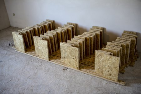 Support panel from OSB board - diy holder for insulation