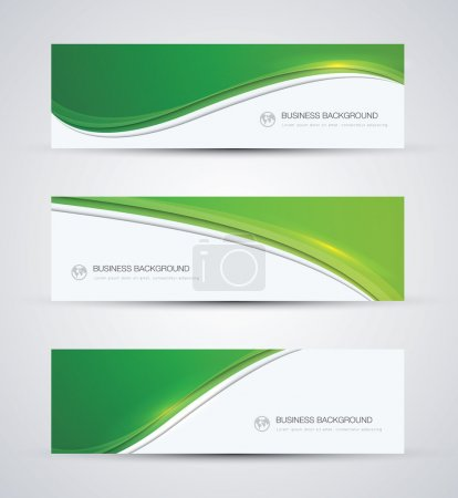 Illustration for Green abstract beautiful business vector background wave banner - Royalty Free Image