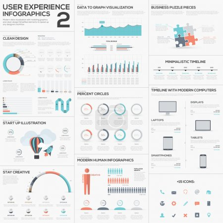 Illustration for Data analytics vector infographics with clean trendy flat design - Royalty Free Image