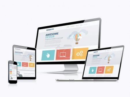 Illustration for Flat responsive web design concept website development devices - Royalty Free Image