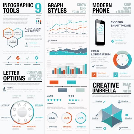 Illustration for Modern statistics and info graphic vector elements for business - Royalty Free Image