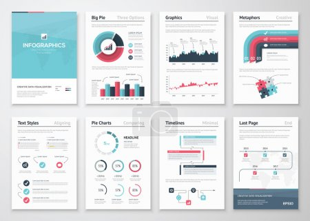 Illustration for Big set of infographic vector elements and business brochures - Royalty Free Image