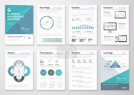 Illustration for Infographic elements for business brochures and presentations - Royalty Free Image