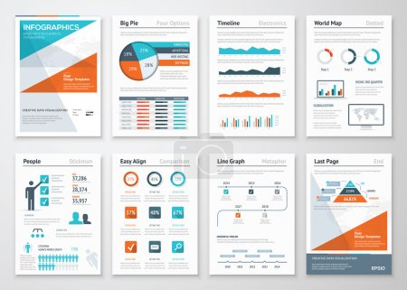 Illustration pour Infographie d'entreprise éléments vectoriels pour brochures d'entreprise - image libre de droit