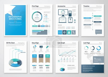 Eight pages of infographic brochures and flyers for business