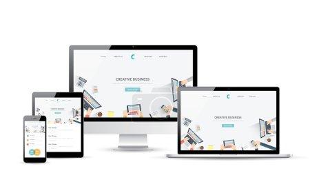 Responsive web design and website development vector devices