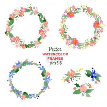 Floral watercolor wreaths, frames, bouquets