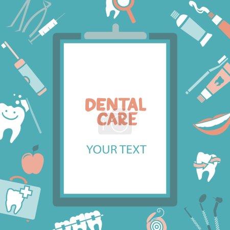 Illustration pour Presse-papiers médical avec texte de soins dentaires. Conception de soins dentaires. Fil dentaire, dents, bouche, pâte dentaire, etc. . - image libre de droit