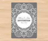 Wedding invitation card template on a wooden background Vintage lace design EPS 10 vector Free fonts used - Nexa Rust Alex Brush Crimson