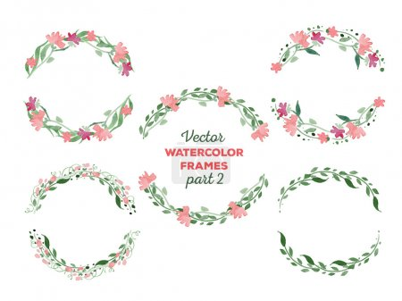 Illustration for Vector watercolor frames. Wreaths with floral elements. Great for wedding and birthday invitations, Mothers day cards, page decoration - Royalty Free Image