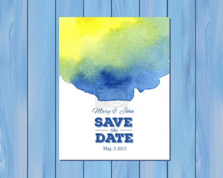 Illustration for EPS 10 vector - Save the date wedding invitation with watercolor stain and typographic elements. Card template on a wooden background. Free fonts used -Nexa Rust, Alex Brush, Crimson - Royalty Free Image