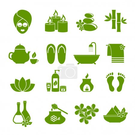Illustration for Icons of Spa. Symbol of rest, relaxation, care about health, a healthy lifestyle for women and men. Set of green vector icons on  white background - Royalty Free Image