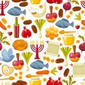 Colorful seamless pattern with symbols of Rosh Hashanah Jewish New Year .Cartoon flat style vector illustration