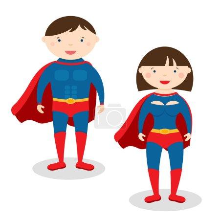 Illustration superman and superwoman