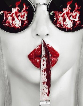 knife on lips