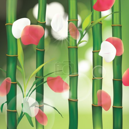 Illustration for Spa Background with Bamboo and petals - Royalty Free Image