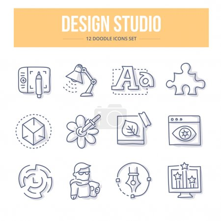 Illustration pour Doodle line icons of design studio production process, creativity and imagination. Design thinking vector illustration concepts - image libre de droit