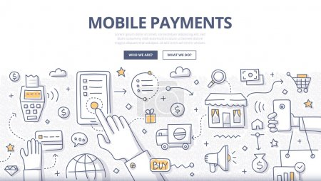 Illustration for Doodle design style illustration of making payments with mobile device. Modern NFC technologies line style concept for web banners, printed materials - Royalty Free Image