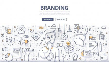 Illustration for Doodle vector illustration of creating a unique name and image for a product in the consumers' mind. Concept of creating company identity for web banners, hero images, printed materials - Royalty Free Image