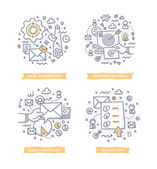 Doodle illustrations of email automation targeting and conversion Concepts of email marketing for telling brand story explaining how-it-works process showing company feature