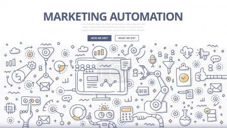 Illustration for Doodle vector illustration of automating and measuring marketing tasks and workflows to increase company efficiency and connect with potential clients. - Royalty Free Image