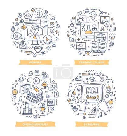 Illustration pour Doodle illustrations vectorielles de la mise en ligne de l'éducation, des cours de formation, e-learning, tutoriel vidéo et webinaire. Concepts d'éducation et d'apprentissage - image libre de droit