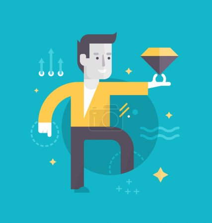 Illustration for Happy man with a diamond represents perfect customer experience he has gotten. Concept of customer care in business - Royalty Free Image
