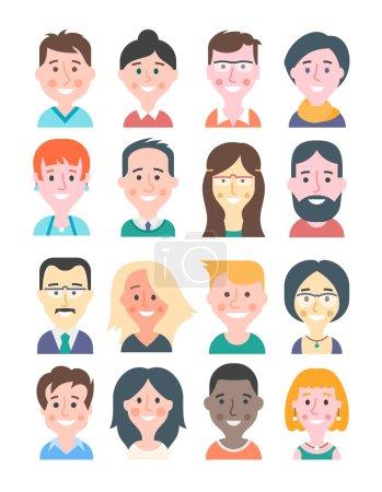 Illustration pour Avatars de jeunes femmes et hommes dans un style moderne de design plat. Diverses coiffures, couleurs tendance, expressions faciales heureuses. Illustrations de bande dessinée isolées sur fond blanc . - image libre de droit