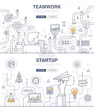 Illustration for Doodle design style concept of building new business, SEO, teamwork and management, company processes. Modern concepts for web banners and printed materials - Royalty Free Image