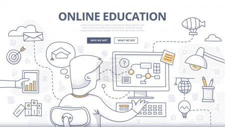 Photo for Doodle design style concept of online education, distance learning, retraining. Modern concepts for web banners, online tutorials, printed and promotional materials - Royalty Free Image